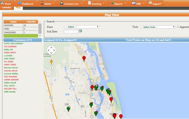 Screenshot of Service Proz Map