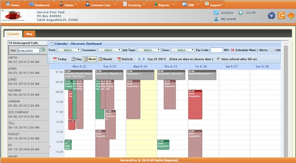 Screenshot of Service Proz Calendar